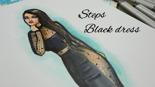 Steps  In Fashion Illustration | Black Dress
