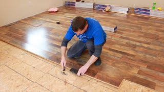How To Install Lowe's Quickstep Studio Restoration Oak Laminate Flooring! Awesome Looking And Cheap!
