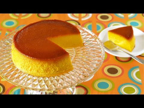 Kabocha Purin Cake for Halloween (Pumpkin Pudding) ハロウィンにかぼちゃプリンケーキ