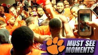 Dabo Swinney Dances With Clemson Players In Locker Room Following FSU Win