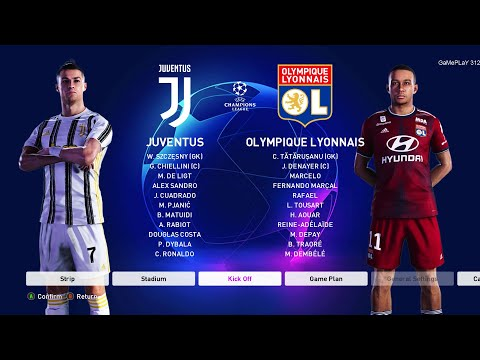 PES 2020 – Juventus vs Lyon – 2nd leg UEFA Champions League 1/8 Final – C.Ronaldo scored 2 goals