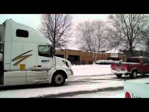 Dodge Ram Tows Semi Truck in Snow!