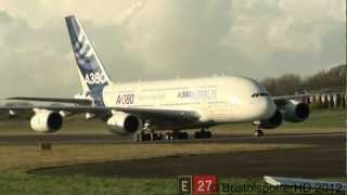 (HD The Mighty Airbus A380 Arriving in Filton Bristol - 23/11/12