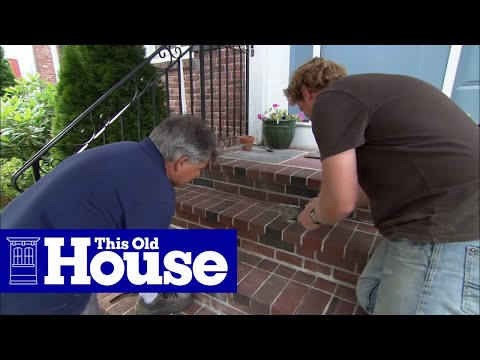Muriatic acid removing excess mortar brick steps repair for Cleaning concrete steps