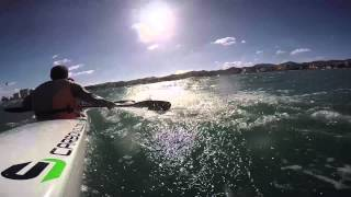 preview picture of video 'Ibiza winter sport - Surfski hard weather - Speed record'