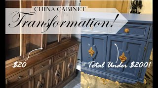 MY VERY FIRST FURNITURE UPCYCLE! | Under $200 | Repurposing An Old China Cabinet