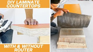 How To Build DIY LAMINATE COUNTERTOPS With EXPOSED PLYWOOD Edges | Modern Builds