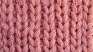 Смотреть онлайн Урок вязания спицами резинки со снятыми петлями