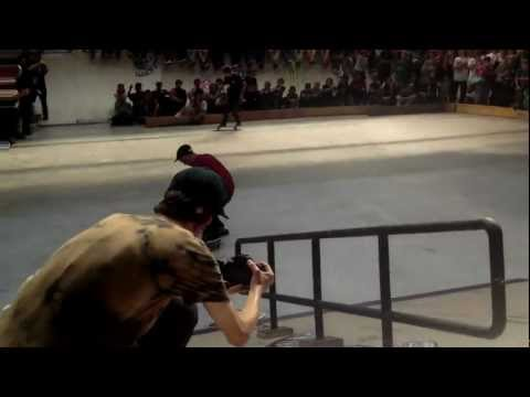 Youness Amrani: Kickflip Manual to Feeble Grind on the Rail at AmsterDamn Am 2012