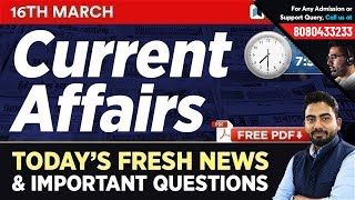 #265 : 16 March 2019 Current Affairs In Hindi | Current Affairs 2019 Questions + Static GK In Hindi