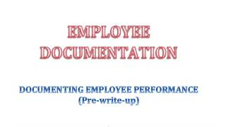 Documenting Employee Performance - Part One - (Pre-write-up)
