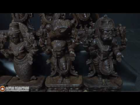 Wood Dasavatar Set of 10 Vishnu Avatar Statues 24