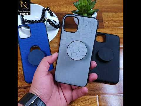 Huawei Y6 2019 / Y6 Prime 2019 Cover - Gray - New Abstract Pattern Leather Texture Case with Popsocket Holder