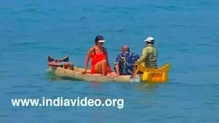 Blue water canoeing at Kovalam