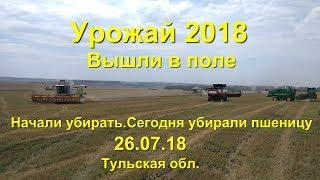 Начало уборочной 2018   Попробовали горох непошол Молотим пшеницу  Тульская область 26 07 18