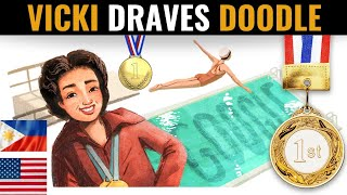Google Doodle for Vicki Draves | Celebrating the First Asian American Olympic Gold Medalist  IMAGES, GIF, ANIMATED GIF, WALLPAPER, STICKER FOR WHATSAPP & FACEBOOK