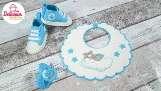 Bib, Dummy And Converse Shoes Out Of Fondant For A Christening Cake L Delicious Sparkly Cakes
