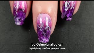 Purple lightning and clouds - Sea foam sponge technique thumbnail