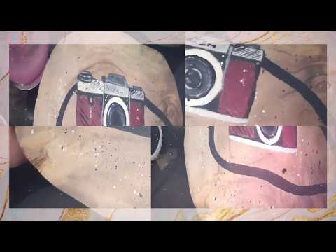 Painting a Camera on wooden slice