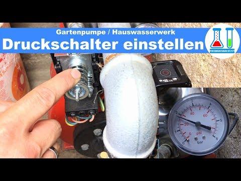 Gartenpumpe / Hauswasserwerk Druckschalter einstellen / Anleitung zum Druck einstellen / deutsch