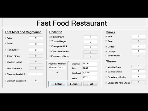 How to Create a Fast Food Restaurant Systems in Visual Basic.Net – Tutorial 1 of 3