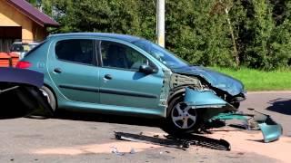 Zderzenie dwóch samochodów w Chorkówce