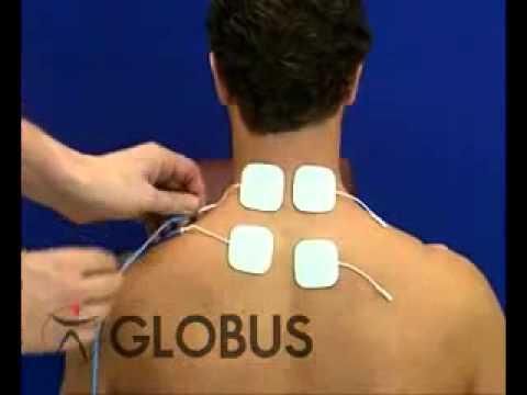 Colocacion de electrodos electroestimulacion en cervicales