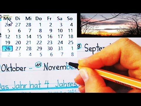 Datum - Deutsch - Schreiben - A1 - Kalender: Tageszeiten - Wochentage - Monate -  Jahreszeiten