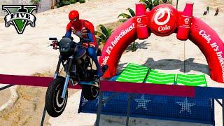 Сhallenge Superheroes Moto parkur SpiderMan and Green Lantern, Harley Quinn GTA V Mods Мото Паркур !