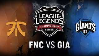 FNC vs. GIA - Week 8 Day 1 | EU LCS Summer Split | Fnatic vs. Giants Gaming (2018)