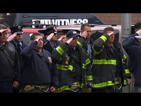 New York City firefighters on Tuesday honored Christopher Slutman, a 15-year FDNY member who was among three American service members killed by a roadside bomb in Afghanistan on Monday. (April 10)
