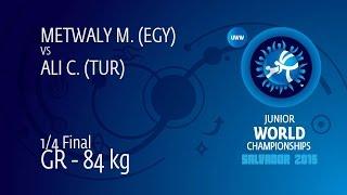1/4 GR - 84 kg: C. ALI (TUR) df. M. METWALY (EGY) by FALL, 9-6