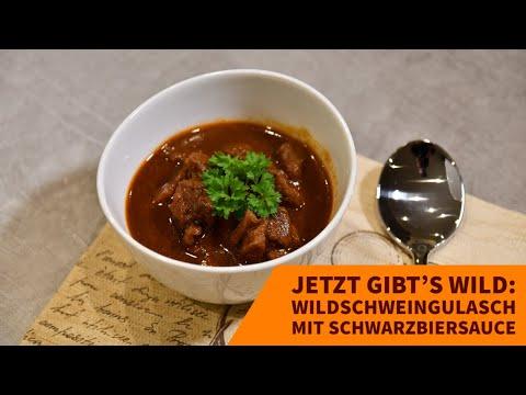 wildrezept: Jetzt gibt's Wild: Wildschweingulasch mit Schwarzbiersauce − Rezept und Kochvideo mit Tipps und Tricks vom Profi