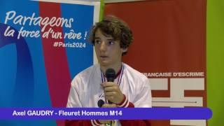 Interview de Axel Gaudry vainqueur de la fête des jeunes 2017 au fleuret hommes