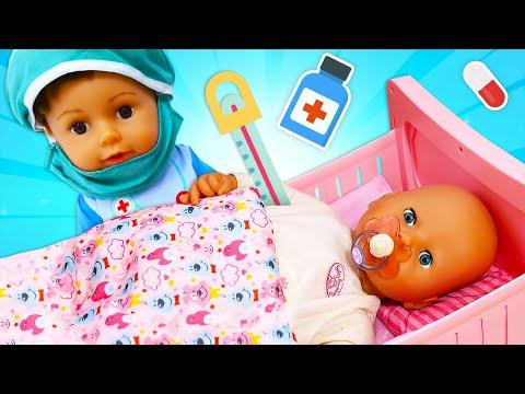 El resfriado de Annabelle. Las muñeca bebé Baby Born. Vídeos para niñas