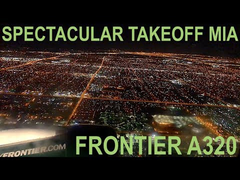 A SPECTACULAR TAKEOFF FROM MIAMI - FRONTIER A320