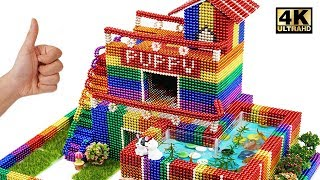 Building Puppy's Dog House and Fish Pond From Magnetic Balls (Satisfying)   Magnet World Series