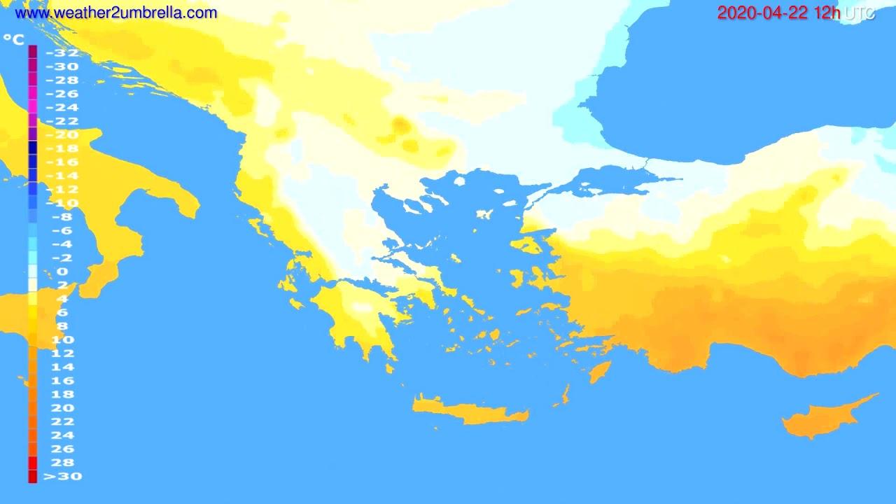 Temperature forecast Greece // modelrun: 00h UTC 2020-04-22