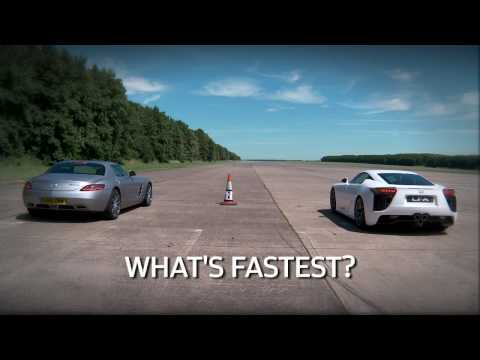 Lexus LFA vs Mercedes SLS supercar drag race - teaser by www.autocar.co.uk