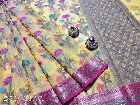 New arrival banaras kora muslim organza sarees collection with price