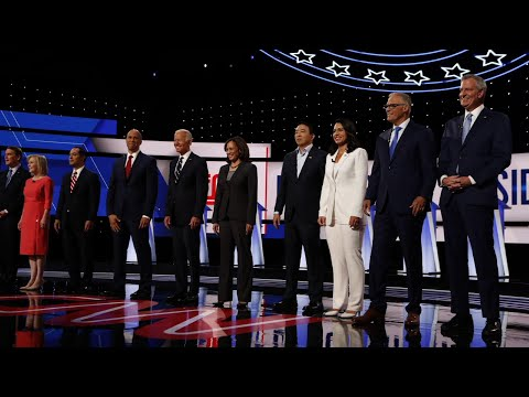 Ten candidates were on stage in Detroit on Wednesday night, the second straight night of Democratic presidential debates. Former Vice President Joe Biden and Senator Kamala Harris took a lot of heat as younger candidates sought the spotlight. (Aug. 1)
