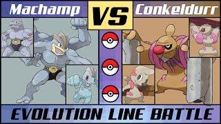 Gurdurr  - (Pokémon) - MACHAMP vs. CONKELDURR - Evolution Line Battle(Pokémon Sun/Moon)
