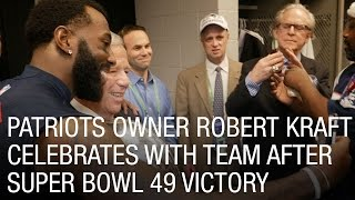 Patriots Owner Robert Kraft Celebrates with Team After Super Bowl 49 Victory