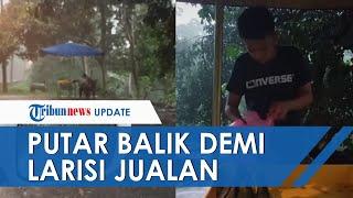 Viral Video Borong dagangan di Tengah Hujan Deras, Rela Putar Balik Mobil Demi Larisi Jualan
