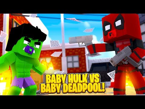 Minecraft Versus - THE HULK vs DEADPOOL, SUPERHERO BABIES!!!