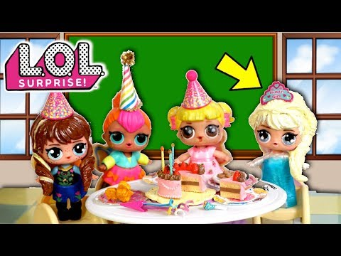 LOL Frozen Family Surprise Birthday Party in Barbie School with Baby Goldie & Punk Boi