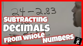 Subtracting decimals from a whole number