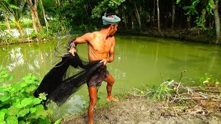 Net Fishing | Live Fish Hunting In village | Traditional cast net fishing (Part-10)