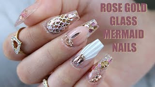 ROSE GOLD GLASS MERMAID NAILS