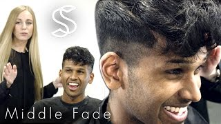 Fade Hairstyle - Curly Fringe For Men - Barber Hairdresser Haircut